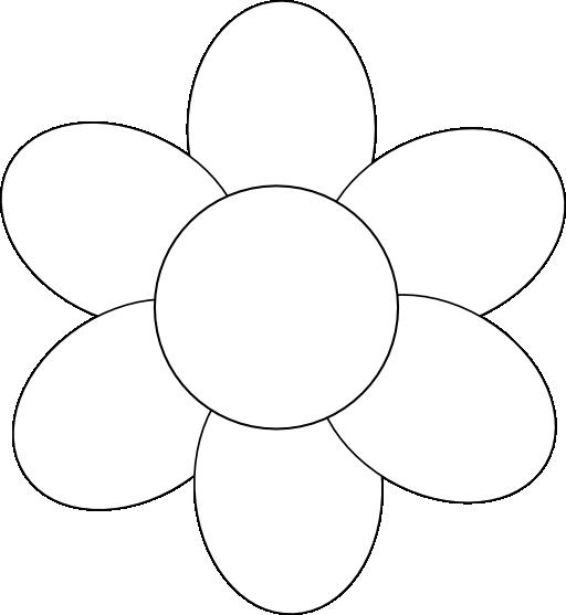 Flower Six Petals Black Outline Clipart I2clipart