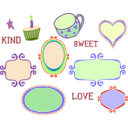 download Kitschy Doodle Frame Borders clipart image with 45 hue color