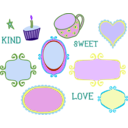 download Kitschy Doodle Frame Borders clipart image with 225 hue color