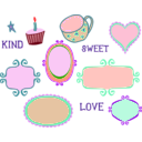 download Kitschy Doodle Frame Borders clipart image with 315 hue color