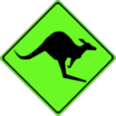 download Warning Kangaroos Ahead clipart image with 45 hue color