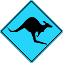 download Warning Kangaroos Ahead clipart image with 135 hue color