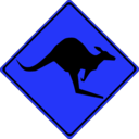 download Warning Kangaroos Ahead clipart image with 180 hue color
