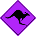 download Warning Kangaroos Ahead clipart image with 225 hue color