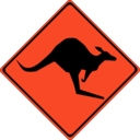 download Warning Kangaroos Ahead clipart image with 315 hue color