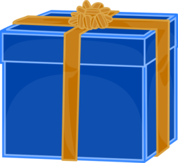 Blue Gift With Golden Ribbon