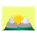 download Sunset Mountain Simple clipart image with 45 hue color