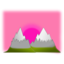 download Sunset Mountain Simple clipart image with 315 hue color