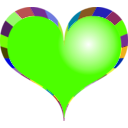 download Red Heart clipart image with 45 hue color