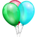 download Party Balloons clipart image with 135 hue color