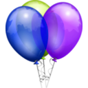download Party Balloons clipart image with 225 hue color