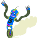 download Running Robot clipart image with 225 hue color