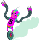 download Running Robot clipart image with 315 hue color