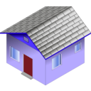 download Small Blue House clipart image with 45 hue color