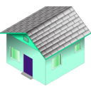 download Small Blue House clipart image with 315 hue color