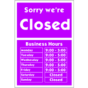 download Sorry Were Closed clipart image with 45 hue color