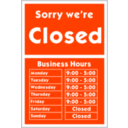 download Sorry Were Closed clipart image with 135 hue color
