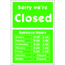 download Sorry Were Closed clipart image with 225 hue color