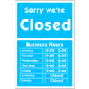 download Sorry Were Closed clipart image with 315 hue color