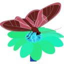 download Butterfly On A Flower clipart image with 135 hue color