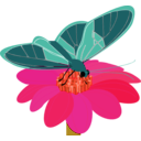 download Butterfly On A Flower clipart image with 315 hue color