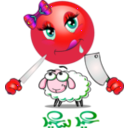 download Girl Eats Sheep Smiley Emoticon clipart image with 315 hue color