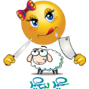 Girl Eats Sheep Smiley Emoticon