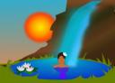 Bathing In A Waterfall