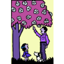 download Father And Daughter Under Tree clipart image with 225 hue color