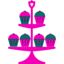 download Jubilee Cake Stand Red clipart image with 315 hue color