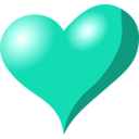 download Heart clipart image with 180 hue color