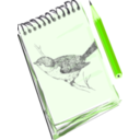 download Sketchpad With Drawing Of A Bird clipart image with 45 hue color