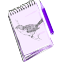 download Sketchpad With Drawing Of A Bird clipart image with 225 hue color