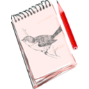 download Sketchpad With Drawing Of A Bird clipart image with 315 hue color