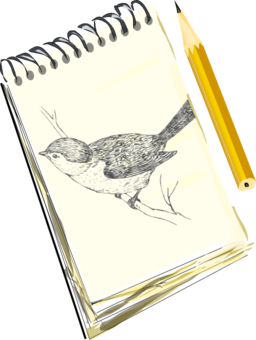 Sketchpad With Drawing Of A Bird