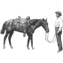 download Man And His Horse clipart image with 225 hue color