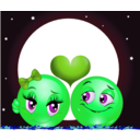 download Moon Lovers Smiley Emoticon clipart image with 90 hue color