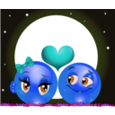 download Moon Lovers Smiley Emoticon clipart image with 180 hue color