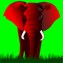Elephant Red On Green