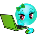 download Girl Laptop Smiley Emoticon clipart image with 135 hue color