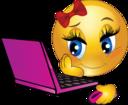 Girl Laptop Smiley Emoticon