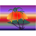 download Tree Palms At Sunset clipart image with 45 hue color