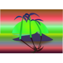 download Tree Palms At Sunset clipart image with 135 hue color