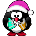 download Santa Penguin clipart image with 315 hue color