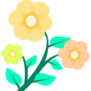 download 3 Flowers clipart image with 45 hue color