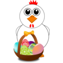 Funny Chicken With A Basket Full Of Easter Eggs