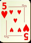 Ornamental Deck 5 Of Hearts