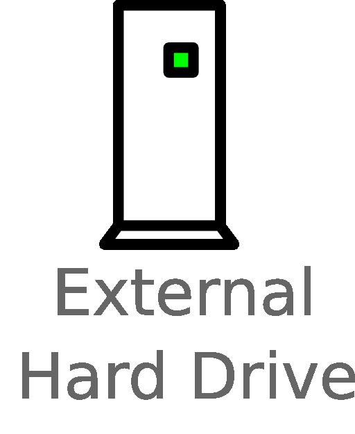 external hard drive labelled clipart