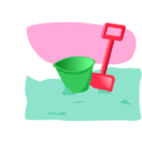 download Bucket And Spade clipart image with 135 hue color