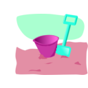 download Bucket And Spade clipart image with 315 hue color